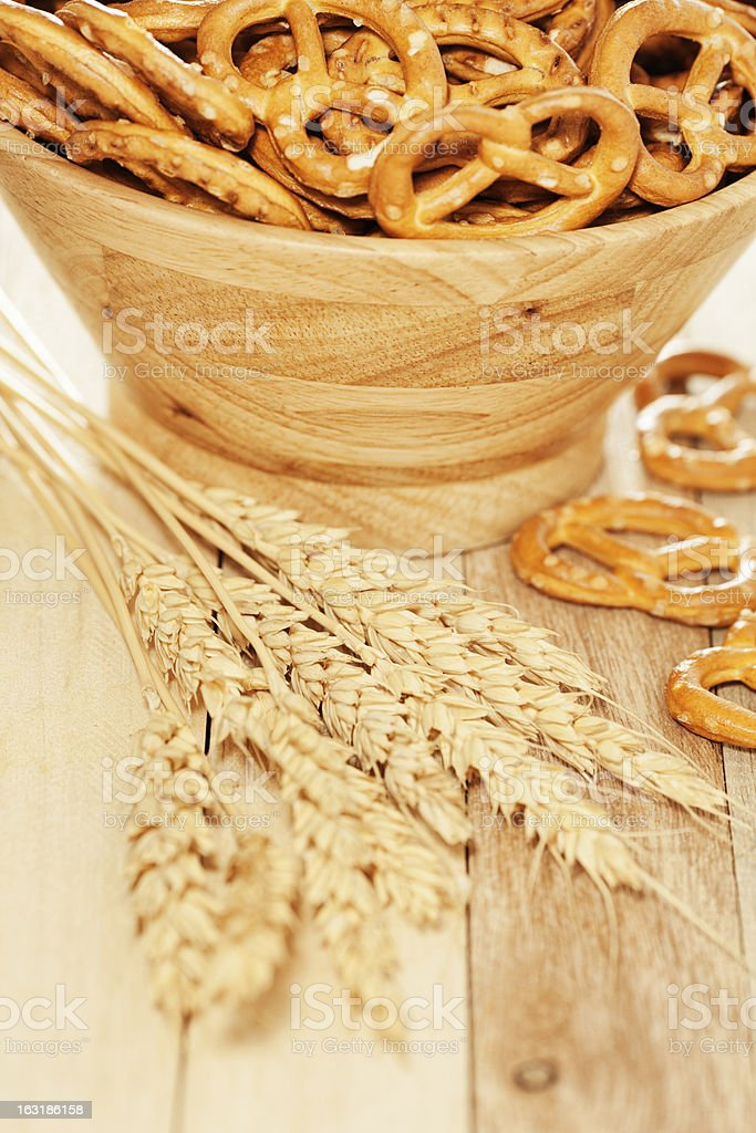 Pretzels and wheat royalty-free stock photo