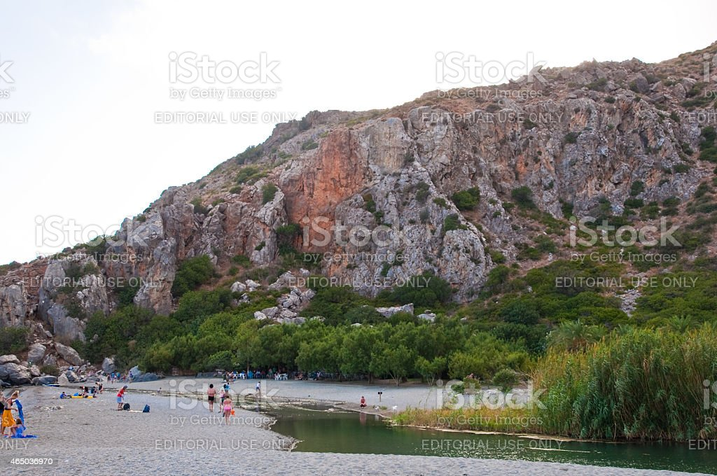 Preveli beach and lagoon seen from  Kourtaliotiko gorge. Crete, Greece. stock photo