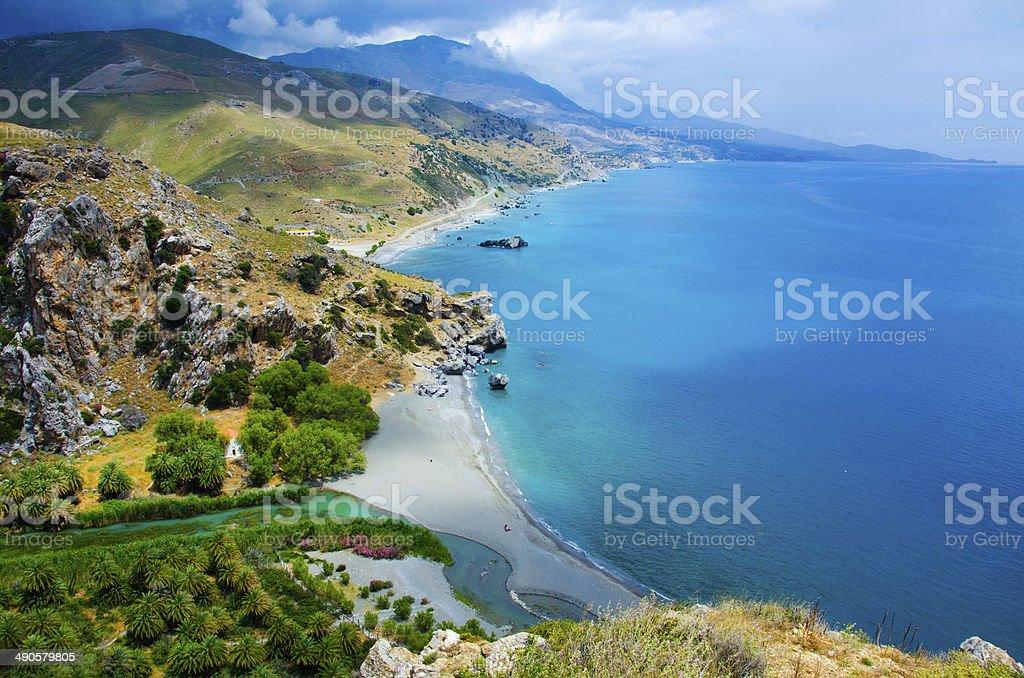 Preveli Beach  - Coast of Crete stock photo