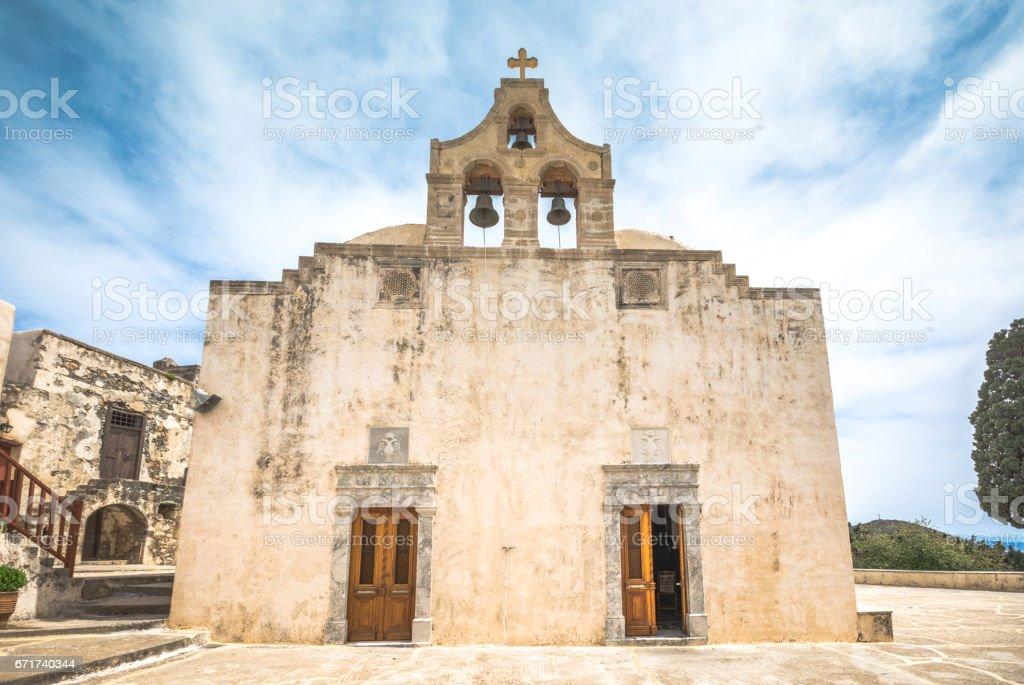 Preveli monastery courtyard with the church of Saint John, Rethimno, Crete, Greece. stock photo