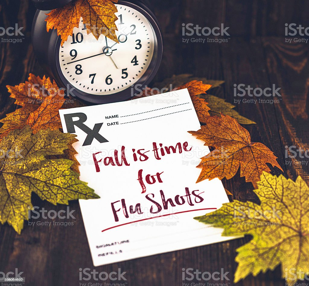 Preventative healthcare. Fall is time for Flu Shots stock photo