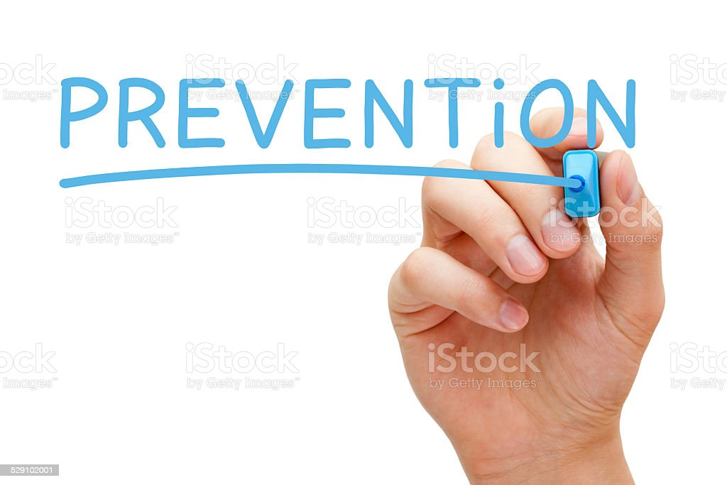 Prevention Blue Marker stock photo