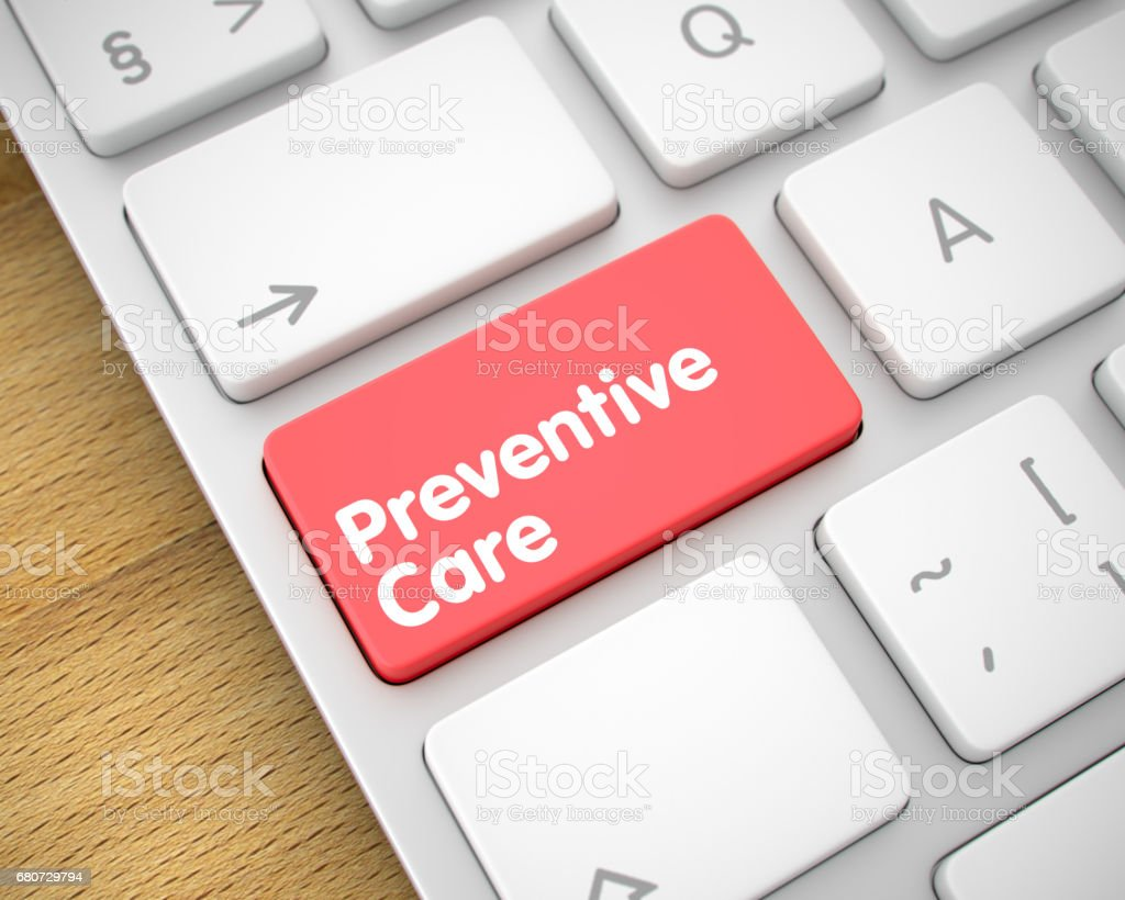 Preventive Care - Inscription on Red Keyboard Key. 3D stock photo