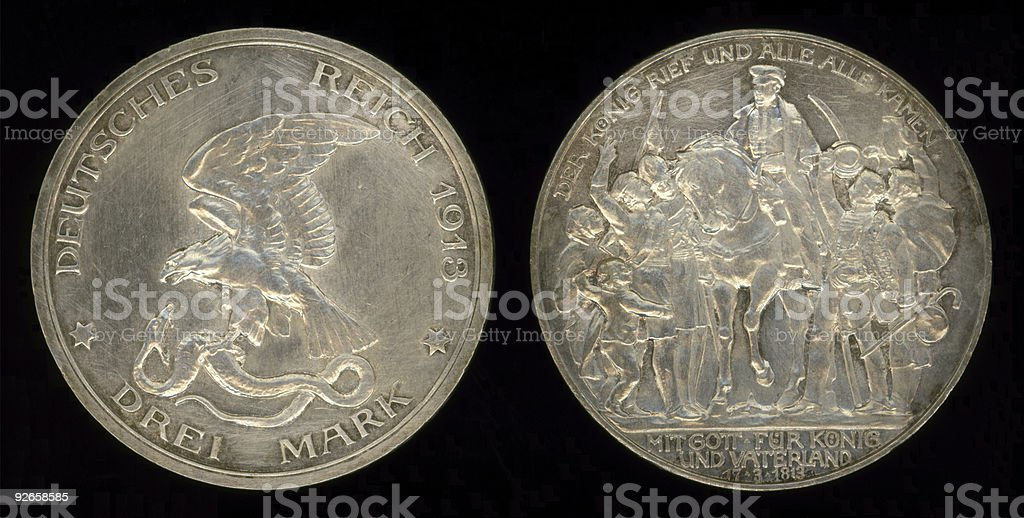 Pre-WWI German Drei Mark Coin stock photo