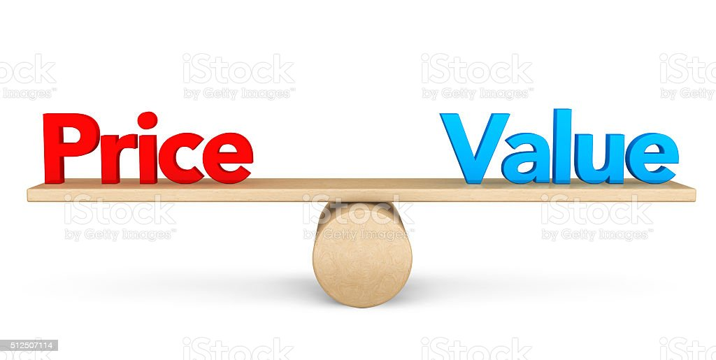 Price and Value balance concept stock photo