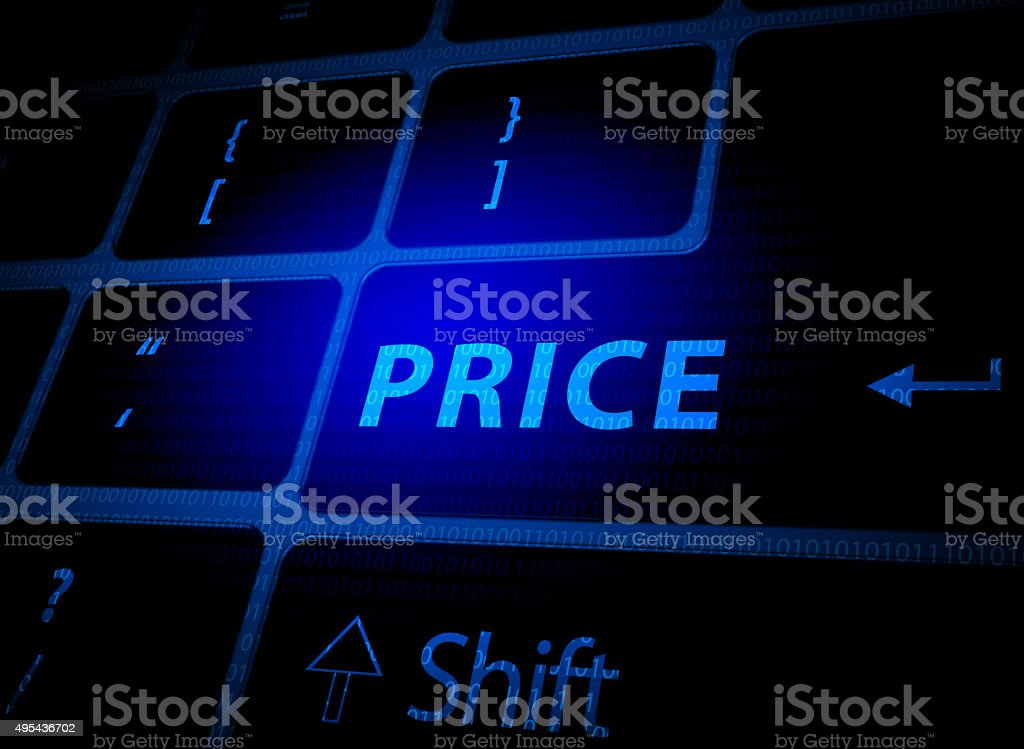 Price button on computer keyboard stock photo