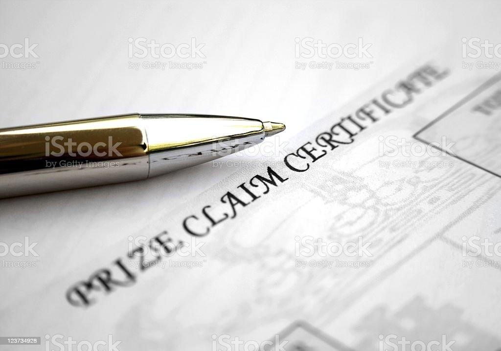 Price claim certificate stock photo
