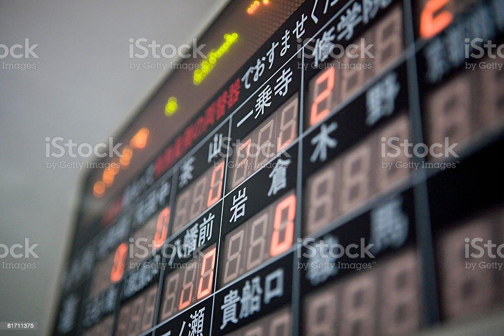 Price display board on a train stock photo