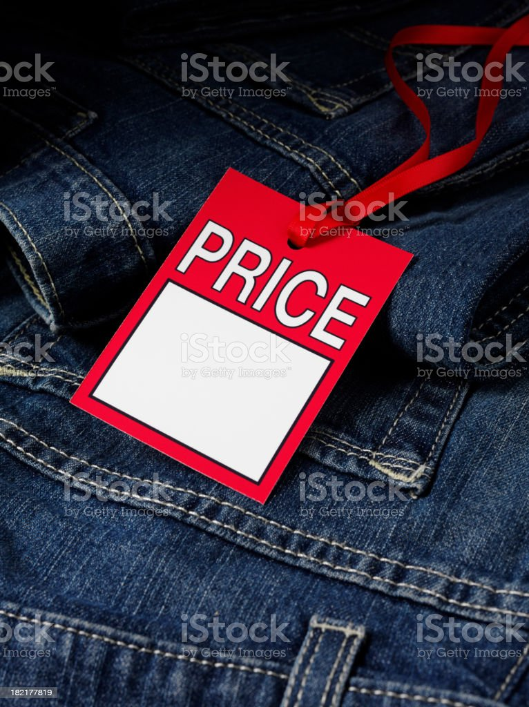 Price Label on Denim Jeans royalty-free stock photo