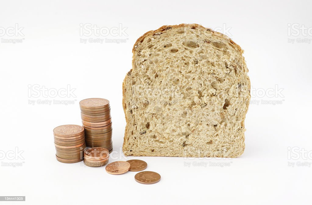 Price of bread.. stock photo