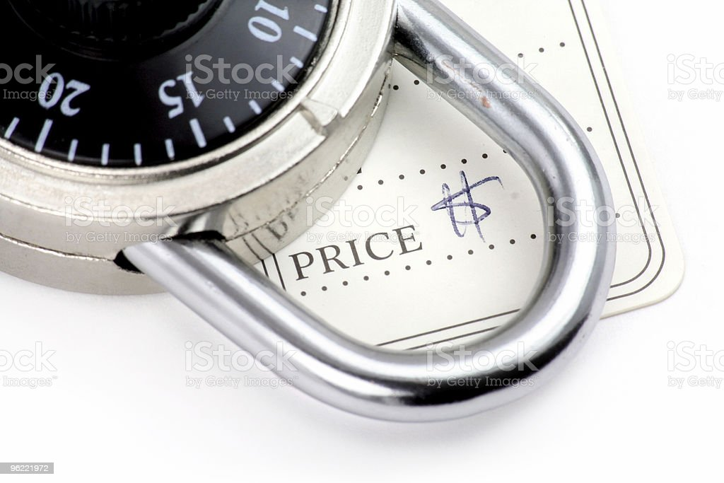 price tag and lock royalty-free stock photo
