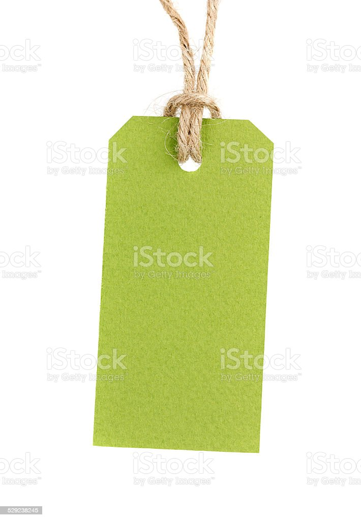 price tag from recycled paper on twine cord isolated stock photo