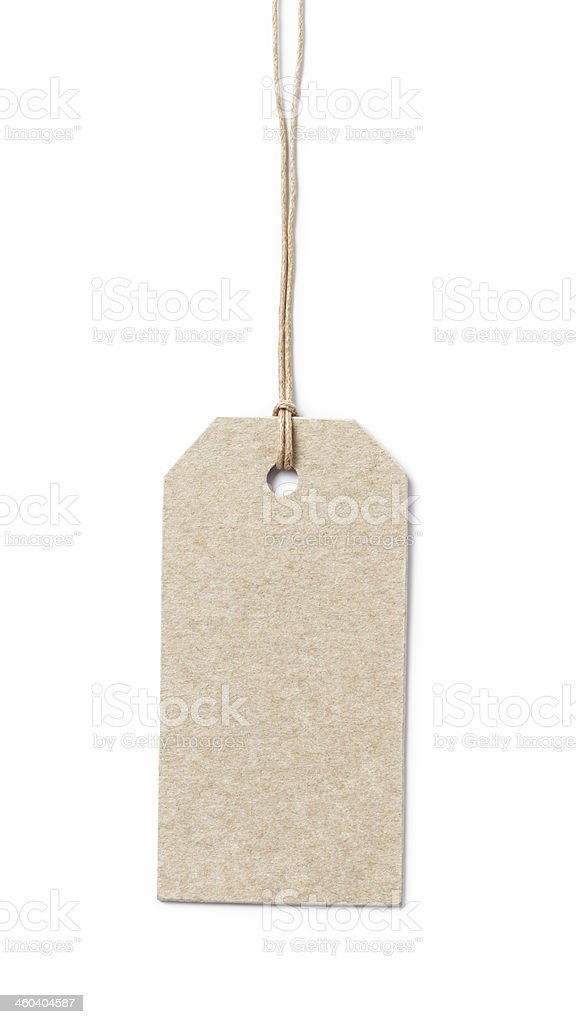 price tag on waxed cord from recycled paper stock photo