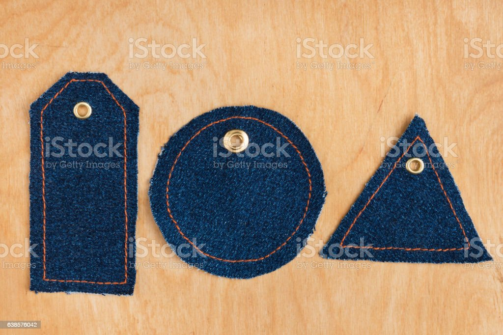 Price tags made of jeans stock photo
