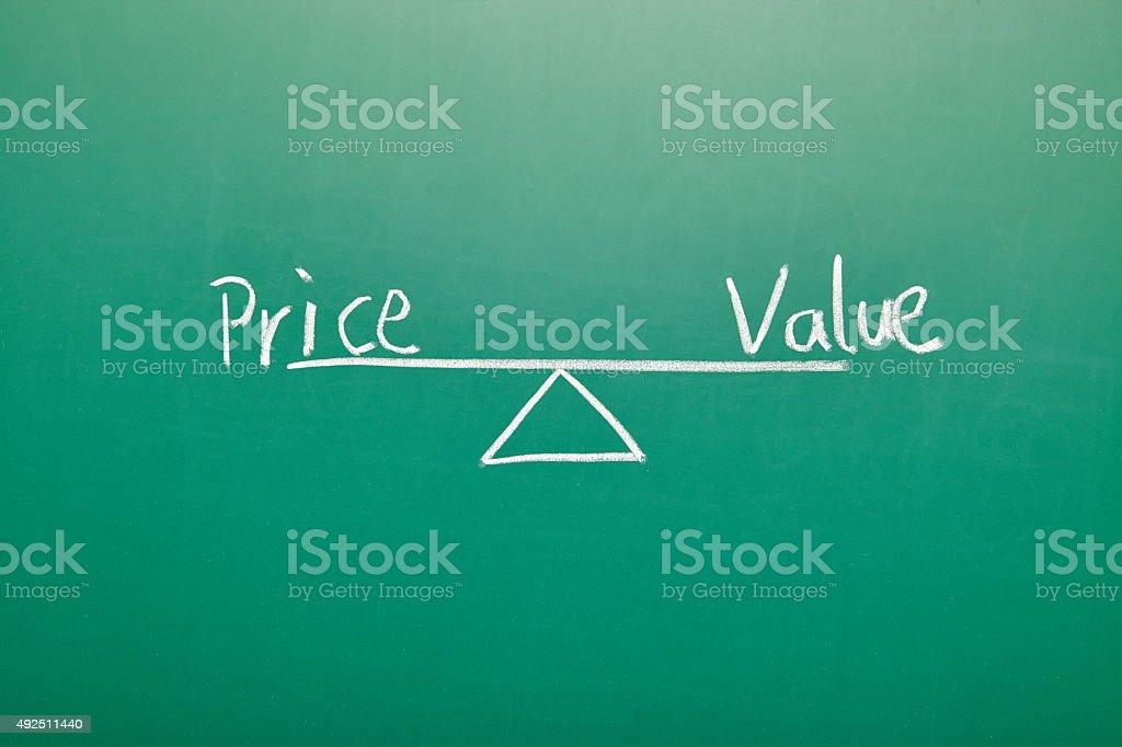 Price Value Balance on blackboard stock photo