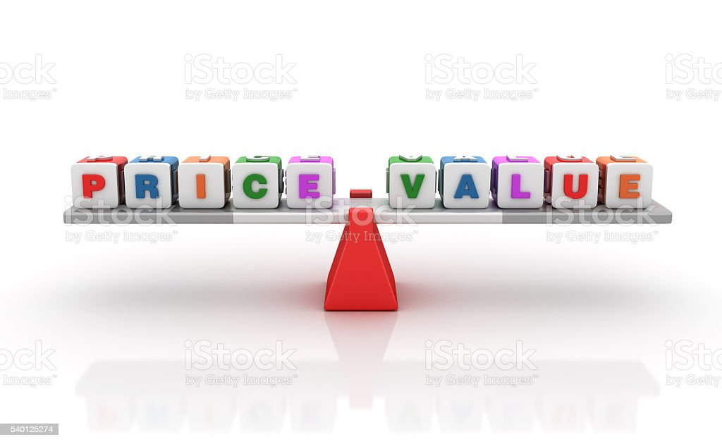 Price Value Words Balancing on a Seesaw stock photo