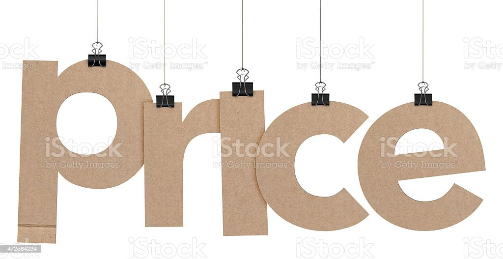 price word hanging on strings stock photo