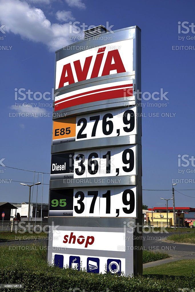 Prices of an Avia Gas Station stock photo