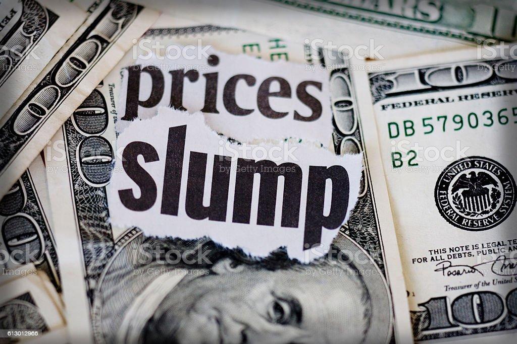 prices slump stock photo