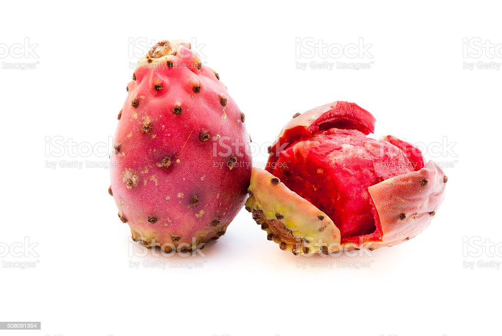 prickly pear fruits  closeup isolated on white background stock photo