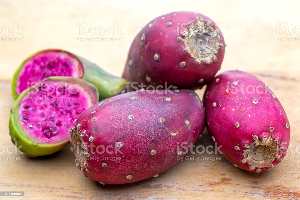 Prickly pear Opuntia cactus edible fruit stock photo
