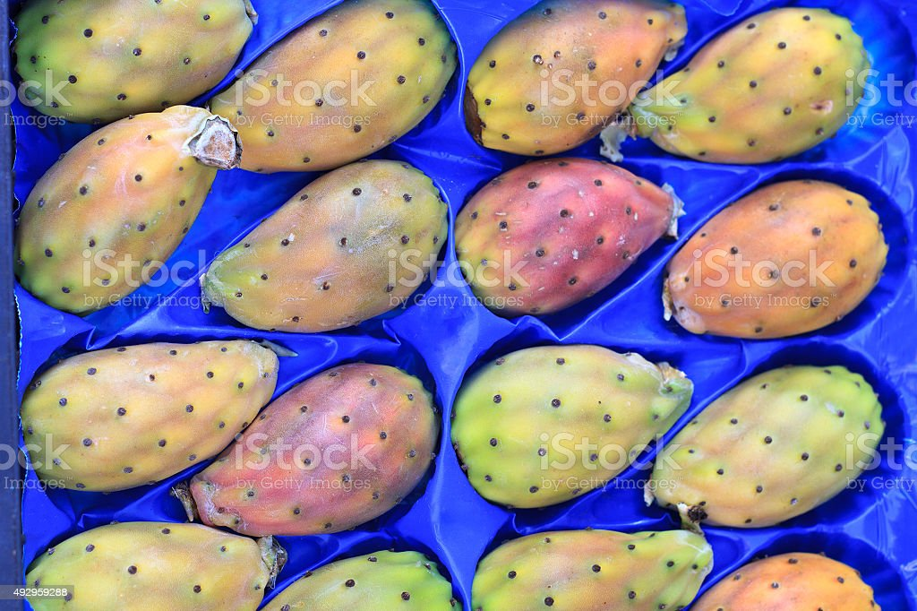 Prickly Pears Against a Blue Background stock photo