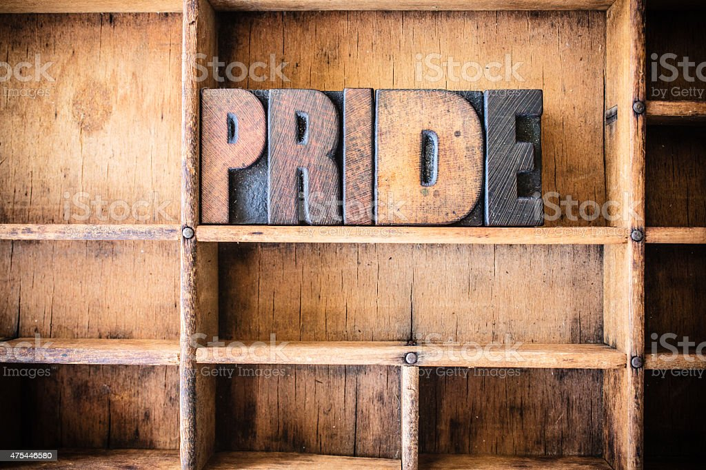 Pride Concept Wooden Letterpress Theme stock photo