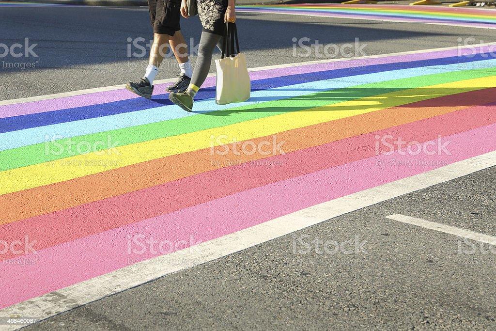 Pride Crosswalk Foot Traffic, Vancouver stock photo