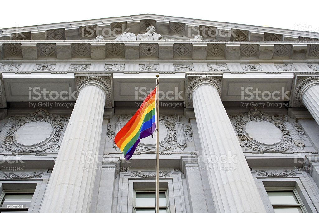 Pride flag at city hall stock photo