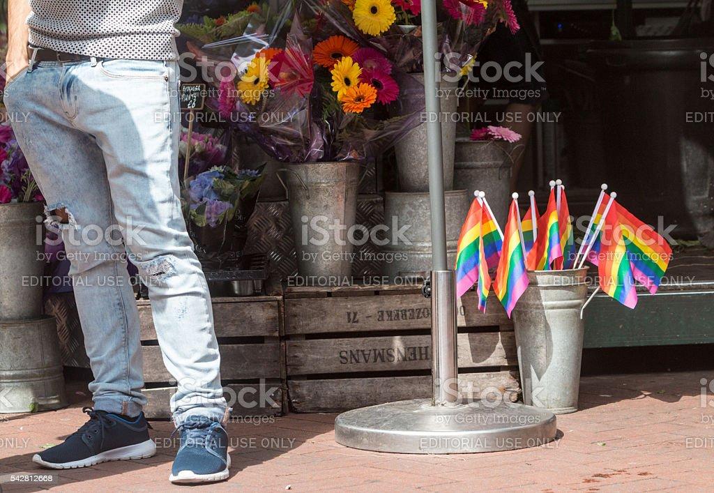Pride Flags in Embankment, London stock photo