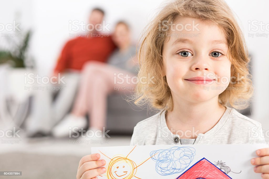 Pride of a child in a happy family stock photo