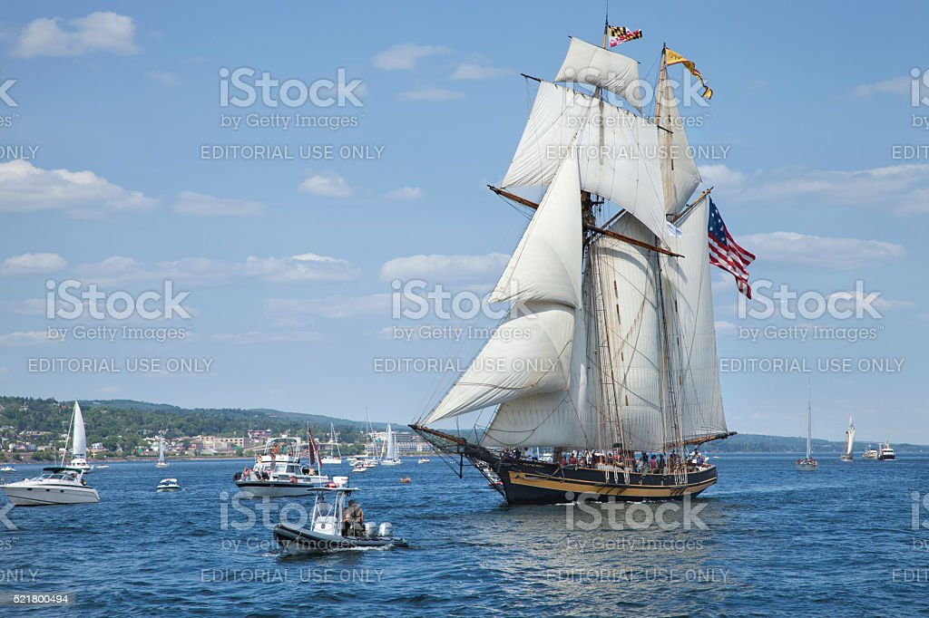 Pride of Baltimore II enters Duluth harbor during ships festival stock photo