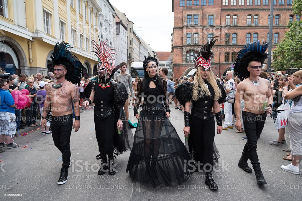 Pride parade in punk costumes stock photo
