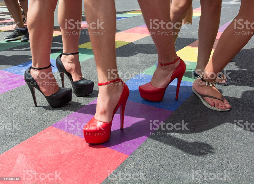 Pride parade, Rainbow flag stock photo