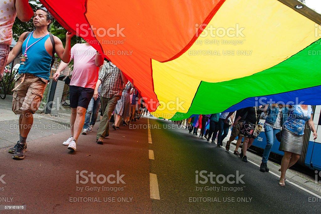 Pride Walk in Amsterdam EuroPride 2016, The Netherlands stock photo
