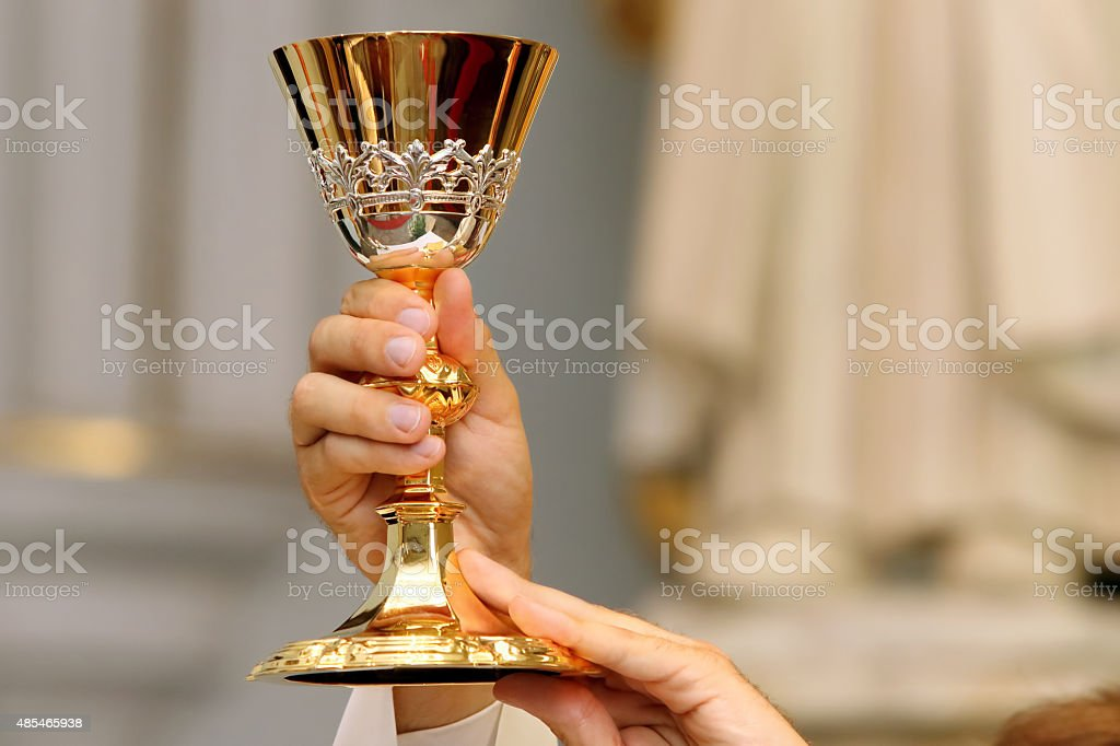 Priest celebrate a mass at the church stock photo