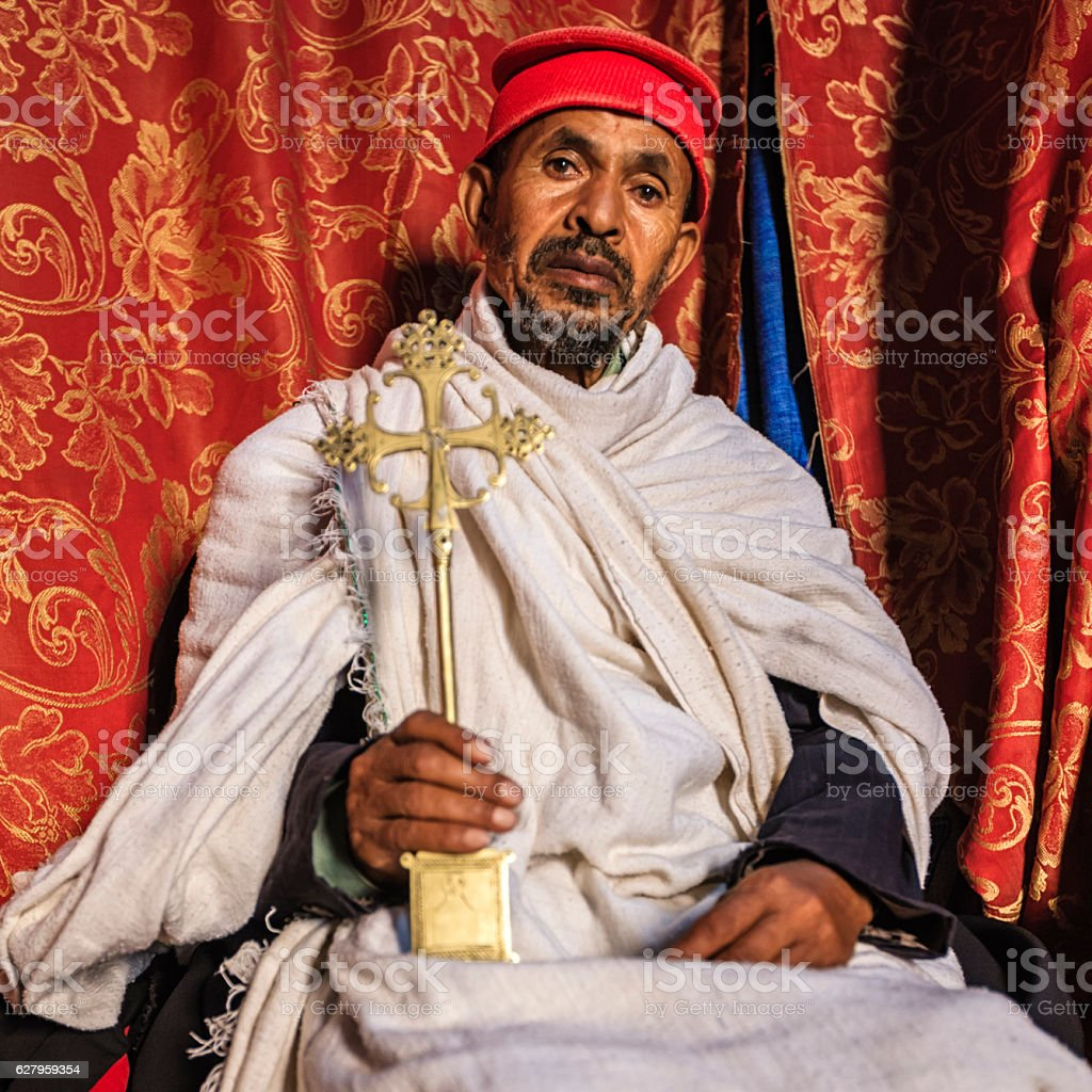 Priest from Church of Saint George, Lalibela. Ethiopia,Africa stock photo
