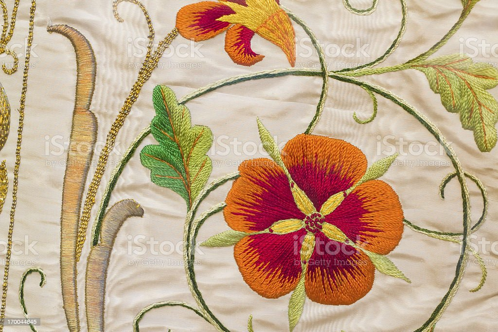 Priest Vestment Embroidery Detail stock photo