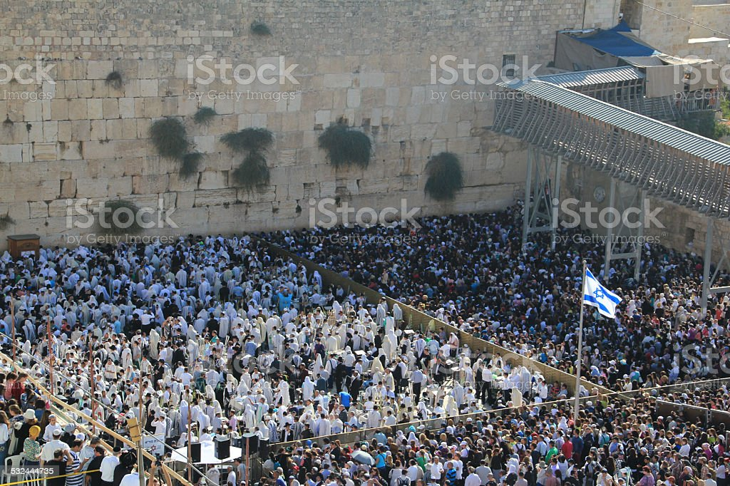 Priestly Blessing at Western Wall stock photo