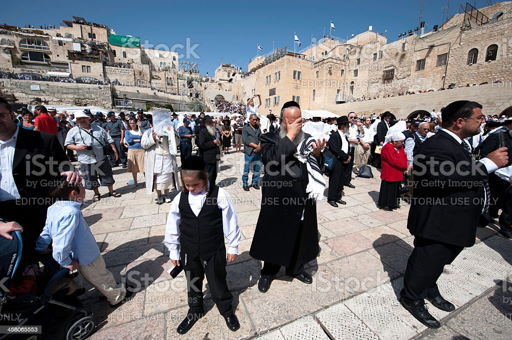 Priestly Blessing or Birkat Kohanim stock photo