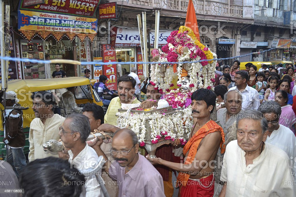 Priests and Sadhus carrying Lord Shiva Hatkeshwar in city stock photo