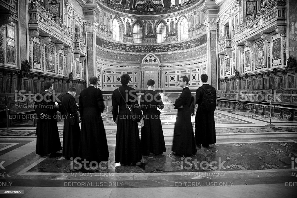 Priests at St. John Lateran in Rome royalty-free stock photo