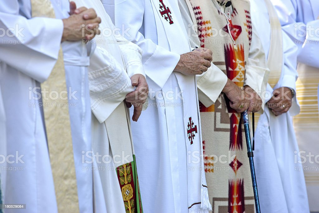 Priests with folded hands. stock photo
