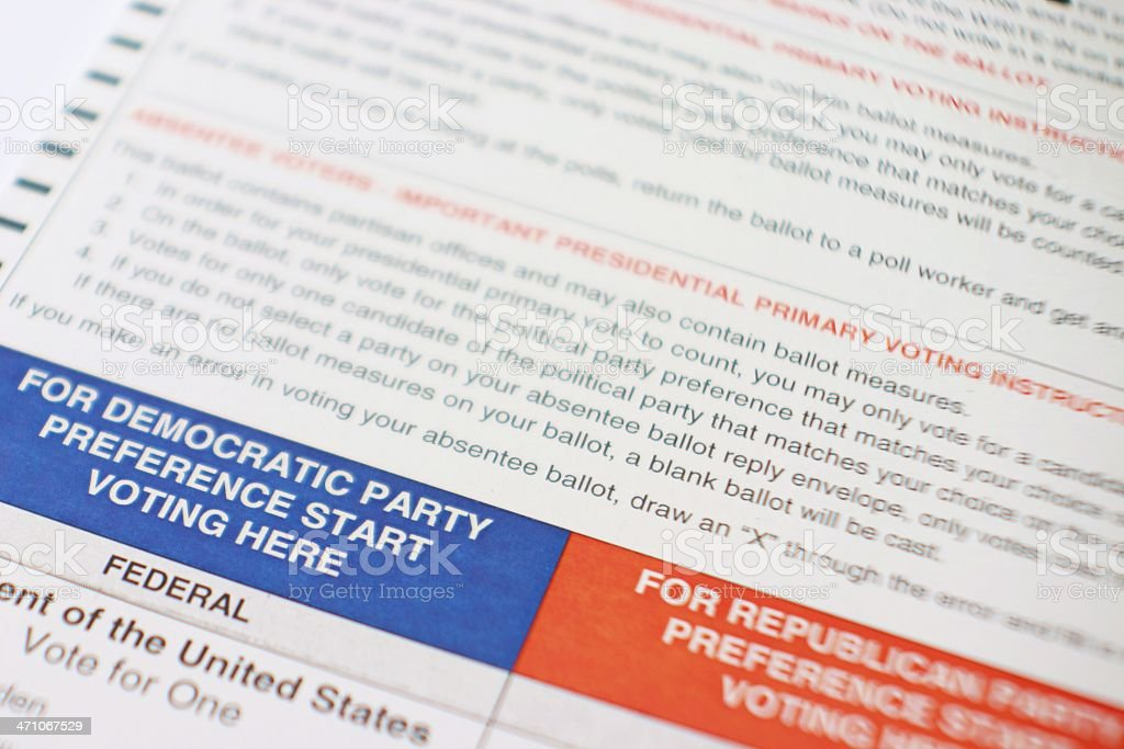 Primary Ballot for US Presidential Election stock photo