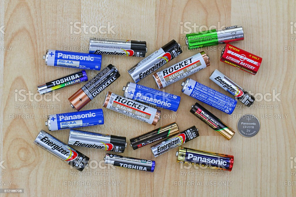 Primary cell and rechargeable battery from different brands stock photo