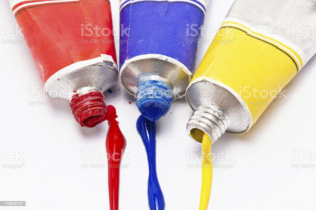 Primary color water painted isolated on white background. stock photo