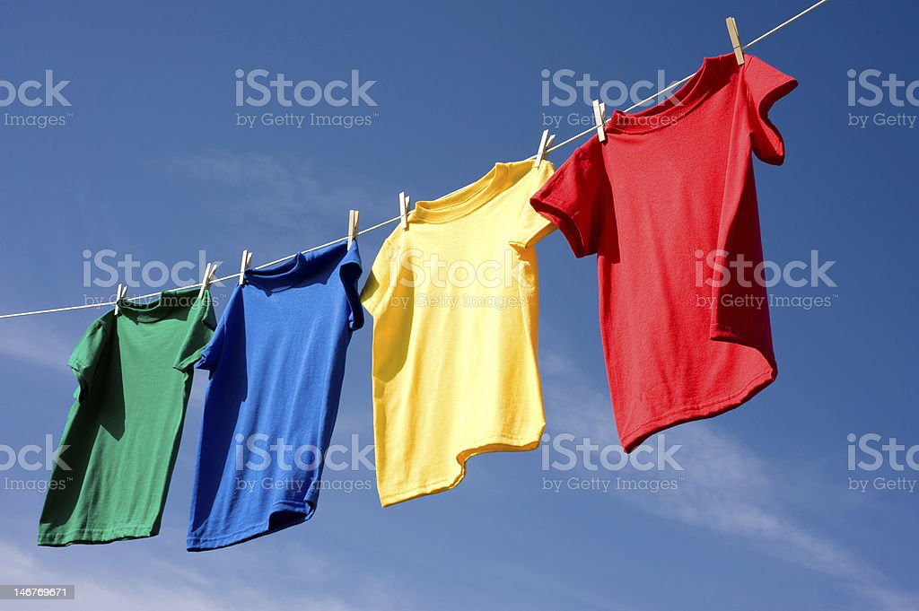 Primary Colored T-Shirts stock photo