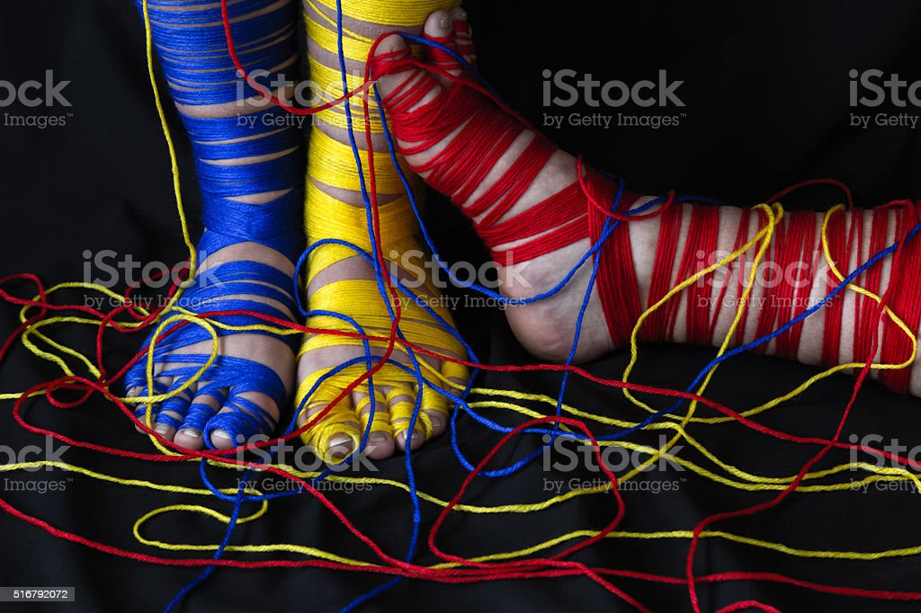 Primary Colors Yarn Feet 2 stock photo