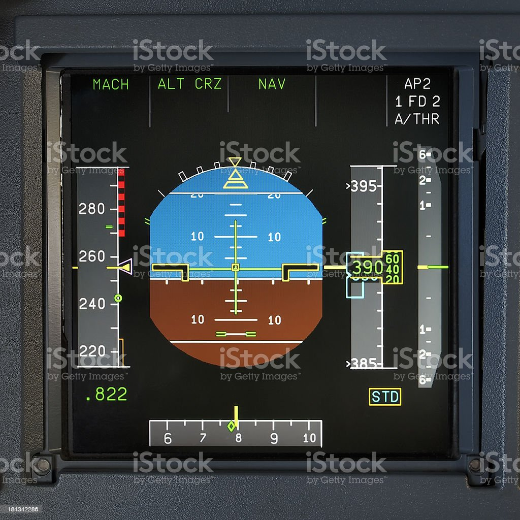 Primary Fliight Display of a Modern Aircraft stock photo