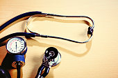 Primary health check equipment: stethoscope and blood pressure gauge